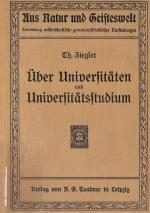 Cover-Bild Über Universitäten und Universitätsstudium