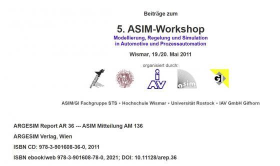 Cover-Bild 5. ASIM Workshop Wismar - Modellierung, Regelung und Simulation in Automotive und Prozessautomation