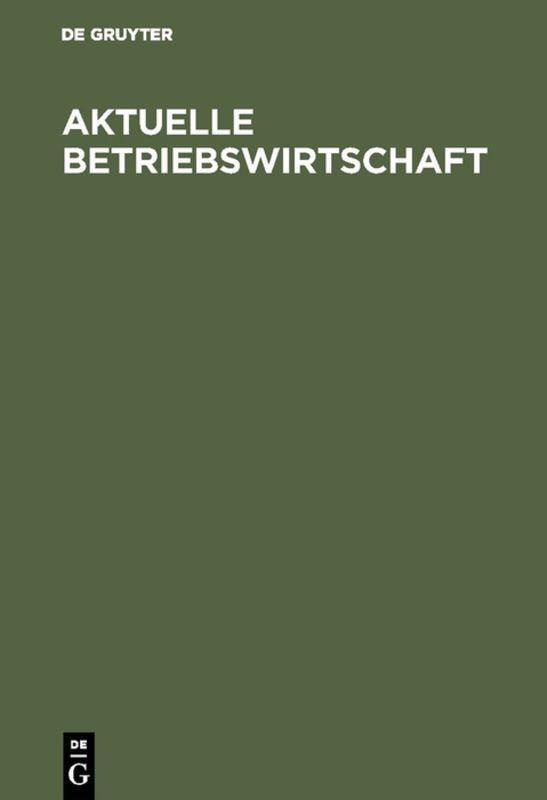 Cover-Bild Aktuelle Betriebswirtschaft