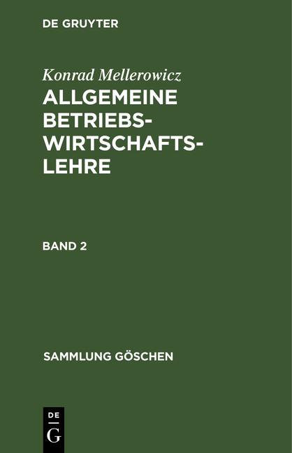 Cover-Bild Allgemeine Betriebswirtschaftslehre / Allgemeine Betriebswirtschaftslehre. Band 2