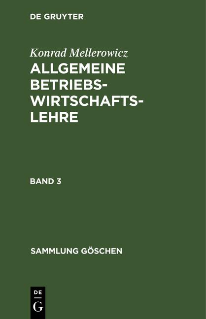 Cover-Bild Allgemeine Betriebswirtschaftslehre / Allgemeine Betriebswirtschaftslehre. Band 3
