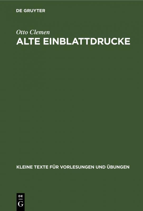 Cover-Bild Alte Einblattdrucke