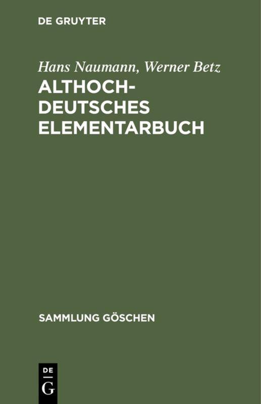 Cover-Bild Althochdeutsches Elementarbuch