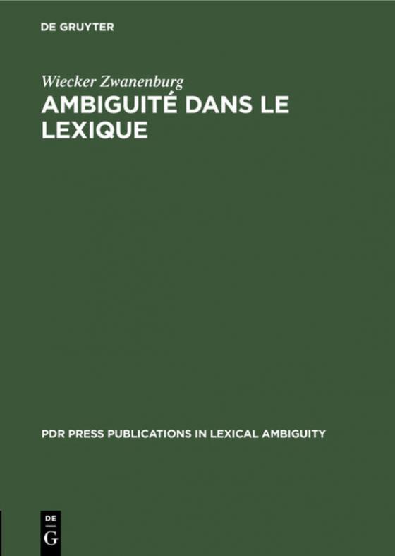 Cover-Bild Ambiguité dans le lexique