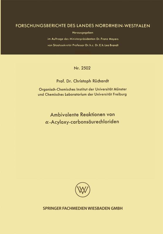 Cover-Bild Ambivalente Reaktionen von α-Acyloxy-Carbonsäurechloriden