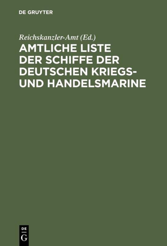Cover-Bild Amtliche Liste der Schiffe der Deutschen Kriegs- und Handelsmarine