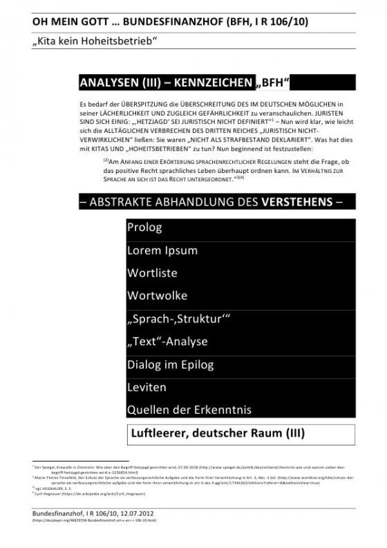 """Cover-Bild ANALYSEN / OH MEIN GOTT … BUNDESFINANZHOF (BFH, I R 106/10) – ANALYSEN (III) – KENNZEICHEN """"BFH"""""""