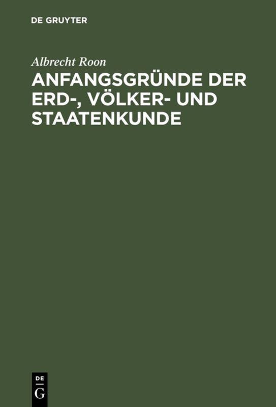 Cover-Bild Anfangsgründe der Erd-, Völker- und Staatenkunde