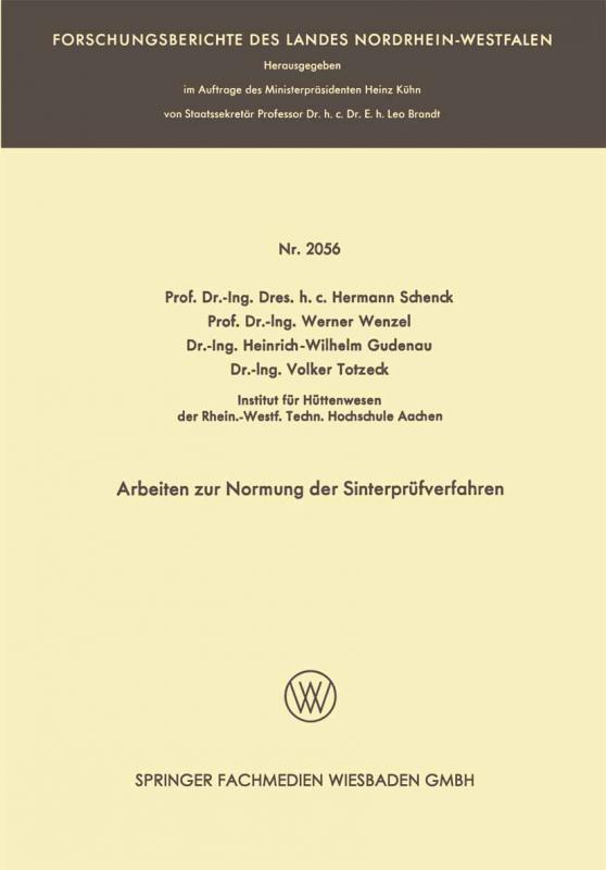 Cover-Bild Arbeiten zur Normung der Sinterprüfverfahren