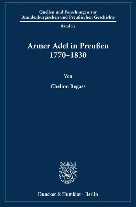 Cover-Bild Armer Adel in Preußen 1770–1830.