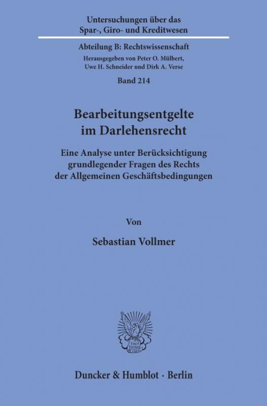 Cover-Bild Bearbeitungsentgelte im Darlehensrecht.