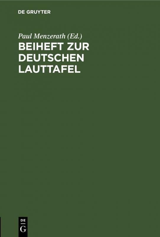 Cover-Bild Beiheft zur Deutschen Lauttafel