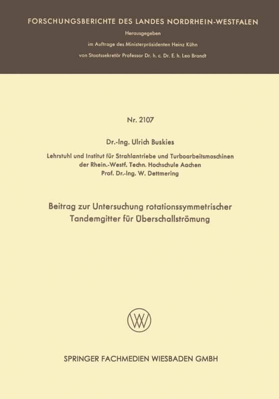 Cover-Bild Beitrag zur Untersuchung rotationssymmetrischer Tandemgitter für Überschallströmung