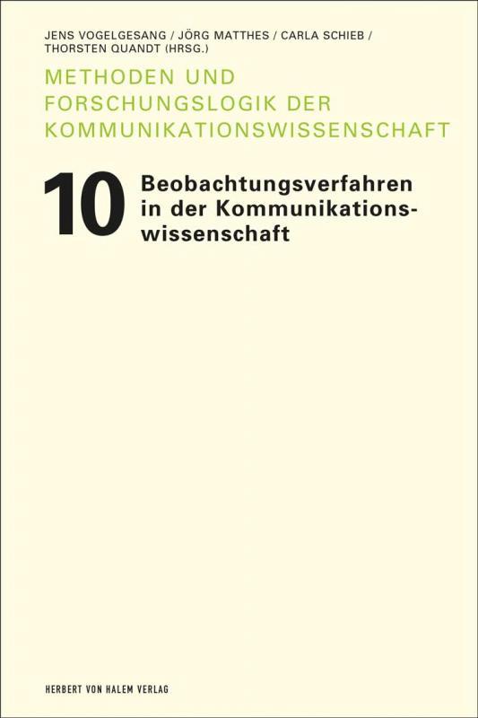 Cover-Bild Beobachtungsverfahren in der Kommunikationswissenschaft