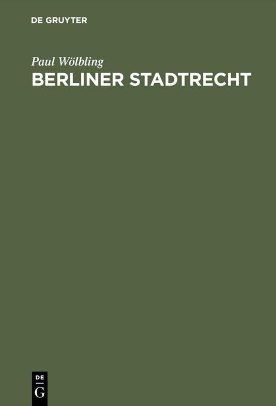 Cover-Bild Berliner Stadtrecht