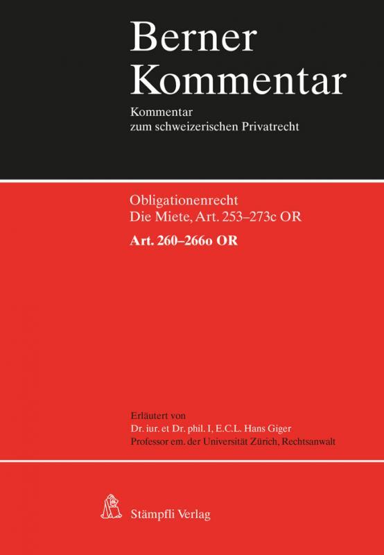 Cover-Bild Berner Kommentar. Kommentar zum schweizerischen Privatrecht / Die Miete, Art. 260-266o OR