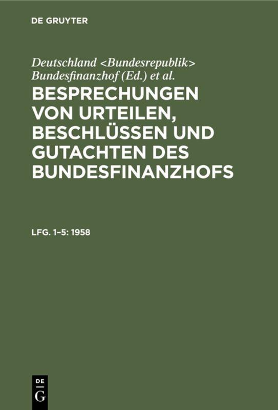 Cover-Bild Besprechungen von Urteilen, Beschlüssen und Gutachten des Bundesfinanzhofs / 1958