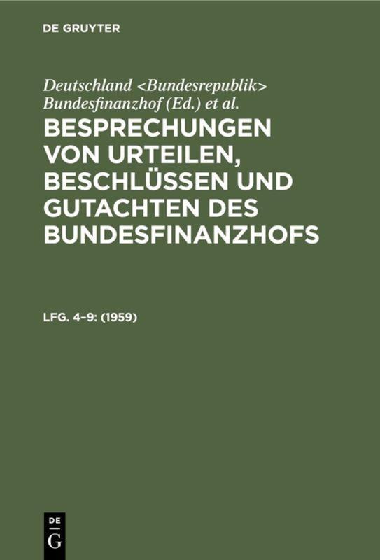 Cover-Bild Besprechungen von Urteilen, Beschlüssen und Gutachten des Bundesfinanzhofs / 1959