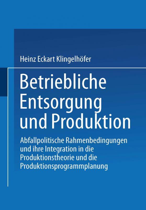 Cover-Bild Betriebliche Entsorgung und Produktion