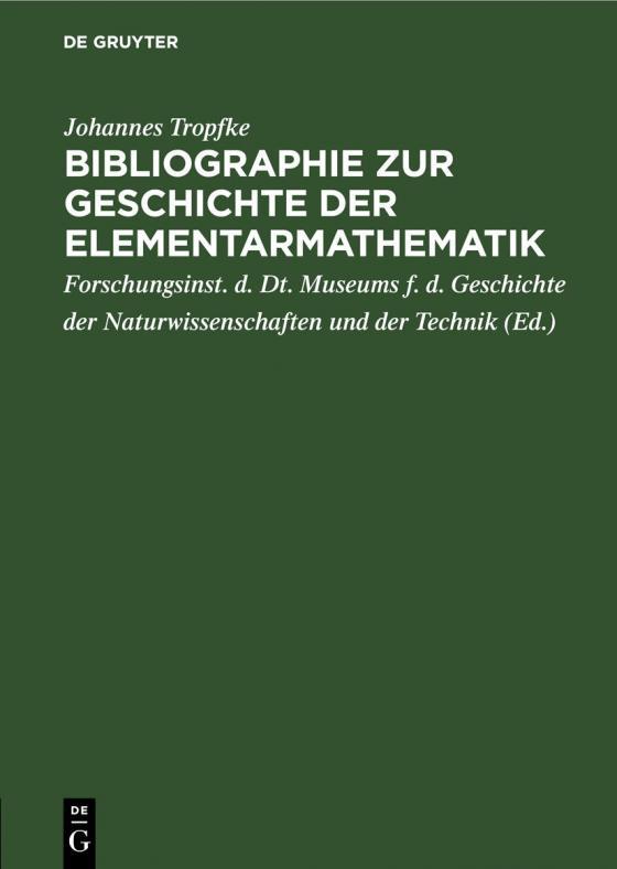 Cover-Bild Bibliographie zur Geschichte der Elementarmathematik