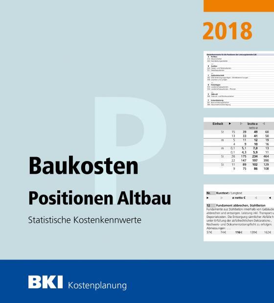 Cover-Bild BKI Baukosten Positionen Altbau 2018