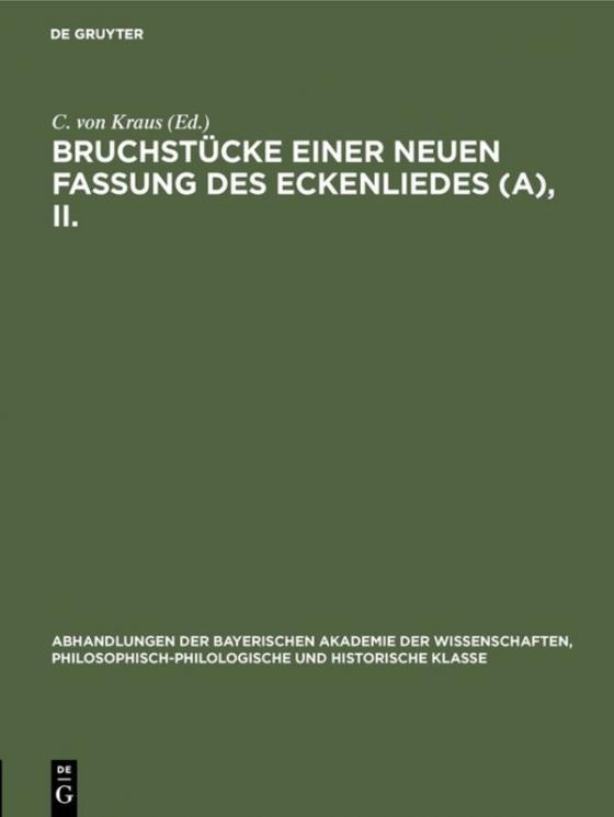 Cover-Bild Bruchstücke einer neuen Fassung des Eckenliedes (A), II.