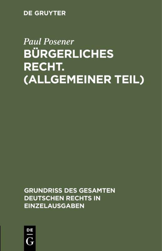Cover-Bild Bürgerliches Recht. (Allgemeiner Teil)