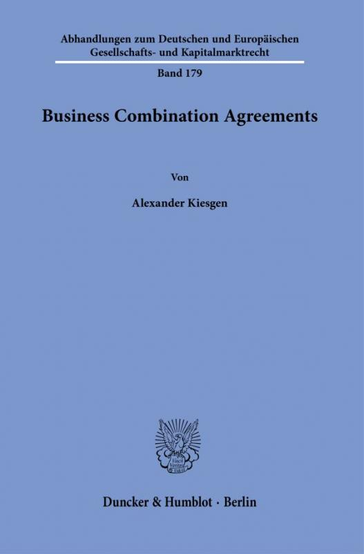 Cover-Bild Business Combination Agreements.