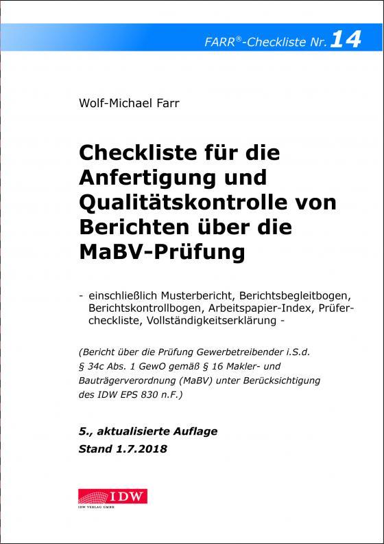 Cover-Bild Checkliste 14 für die Anfertigung und Qualitätskontrolle von Berichten über die MaBV-Prüfung
