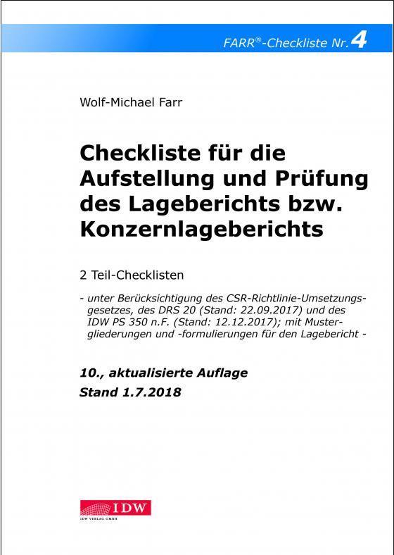 Cover-Bild Checkliste 4 für die Aufstellung und Prüfung des Lageberichts bzw. Konzernlageberichts