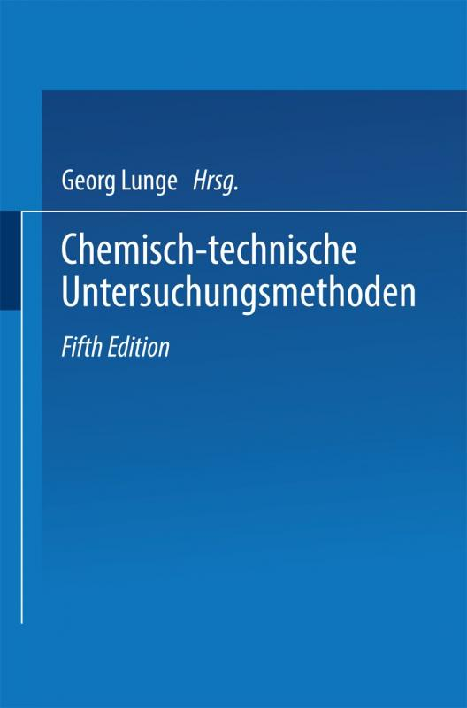 Cover-Bild Chemisch-technische Untersuchungsmethoden