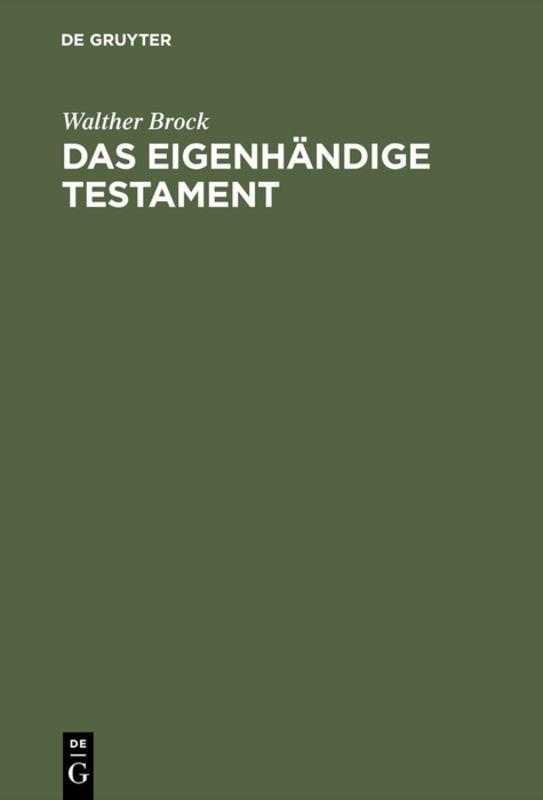 Cover-Bild Das eigenhändige Testament