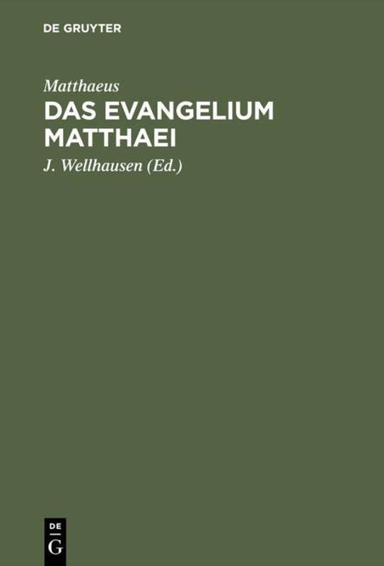 Cover-Bild Das Evangelium Matthaei