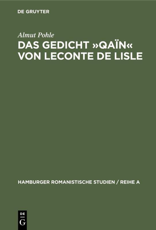 Cover-Bild Das Gedicht »Qaïn« von Leconte de Lisle