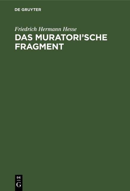 Cover-Bild Das Muratori'sche Fragment