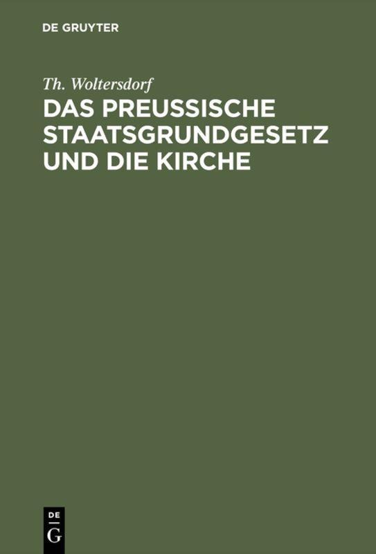 Cover-Bild Das Preußische Staatsgrundgesetz und die Kirche