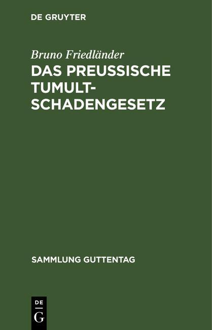 Cover-Bild Das preussische Tumultschadengesetz