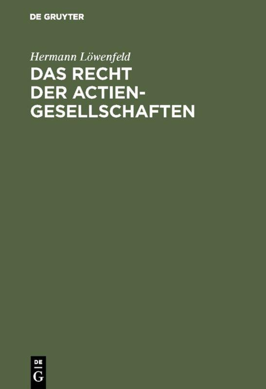 Cover-Bild Das Recht der Actien-Gesellschaften