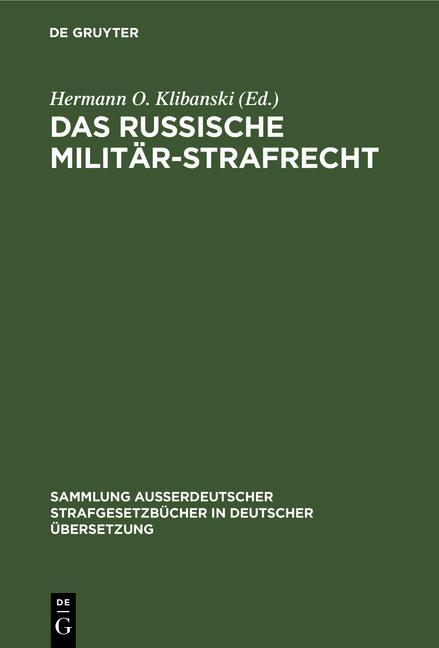 Cover-Bild Das Russische Militär-Strafrecht