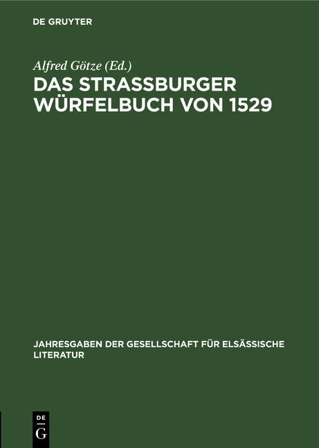 Cover-Bild Das Straßburger Würfelbuch von 1529