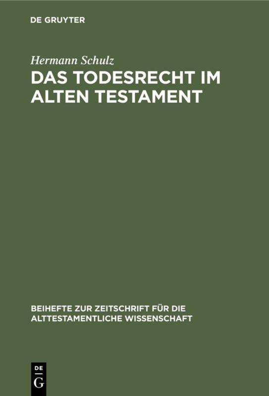 Cover-Bild Das Todesrecht im Alten Testament