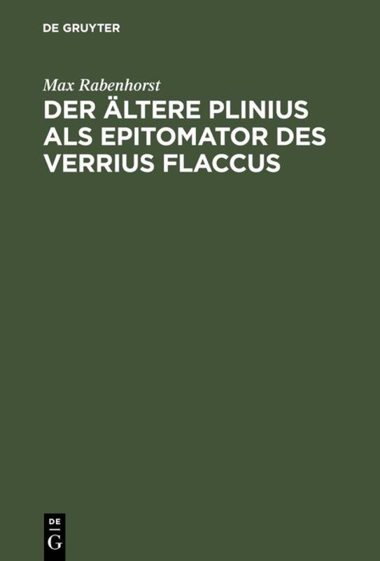 Cover-Bild Der ältere Plinius als Epitomator des Verrius Flaccus