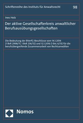 Cover-Bild Der aktive Gesellschafterkreis anwaltlicher Berufsausübungsgesellschaften