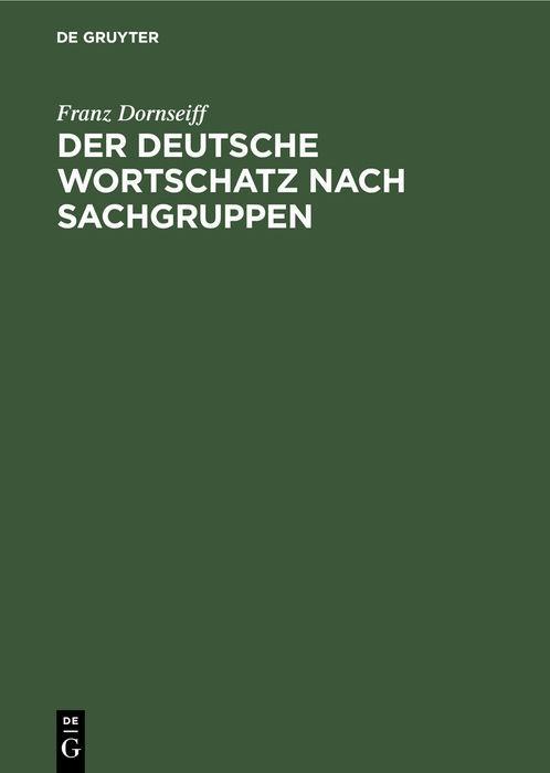 Cover-Bild Der deutsche Wortschatz nach Sachgruppen