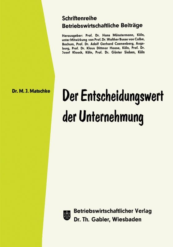 Cover-Bild Der Entscheidungswert der Unternehmung