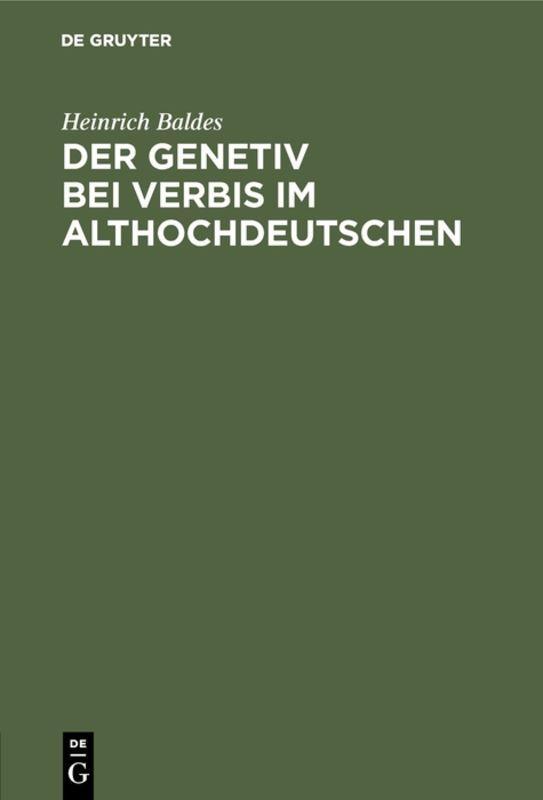 Cover-Bild Der Genetiv bei verbis im Althochdeutschen