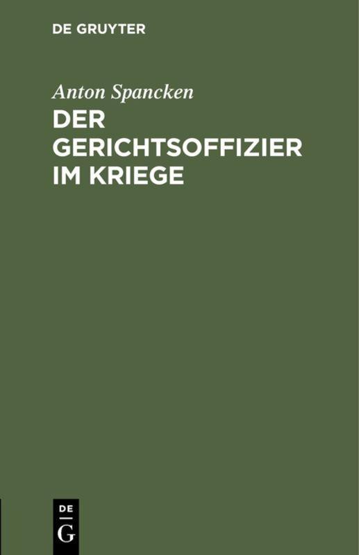 Cover-Bild Der Gerichtsoffizier im Kriege