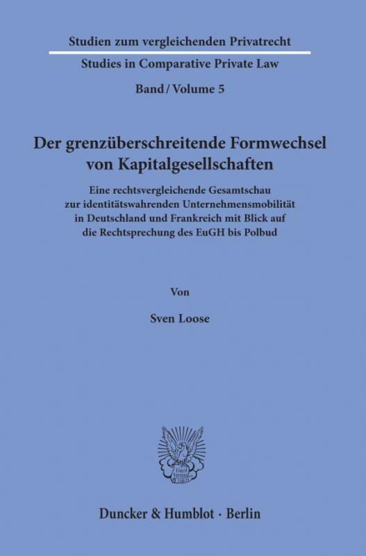 Cover-Bild Der grenzüberschreitende Formwechsel von Kapitalgesellschaften.