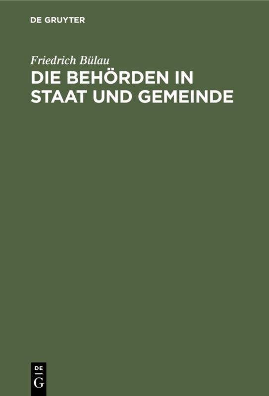 Cover-Bild Die Behörden in Staat und Gemeinde