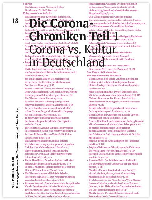 Cover-Bild Die Corona-Chroniken Teil 1 - Corona vs. Kultur in Deutschland